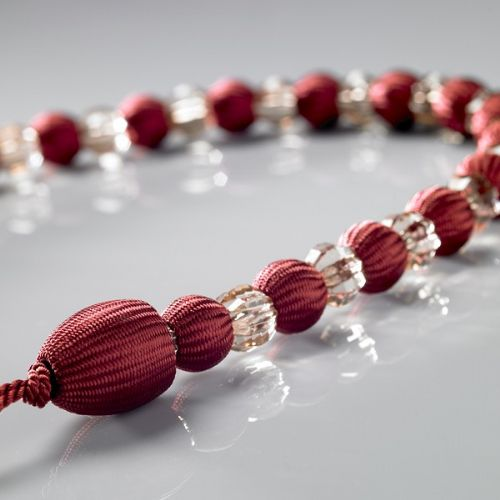 BURGUNDY COLOUR PAIR OF CRYSTAL ROPE TIEBACKS